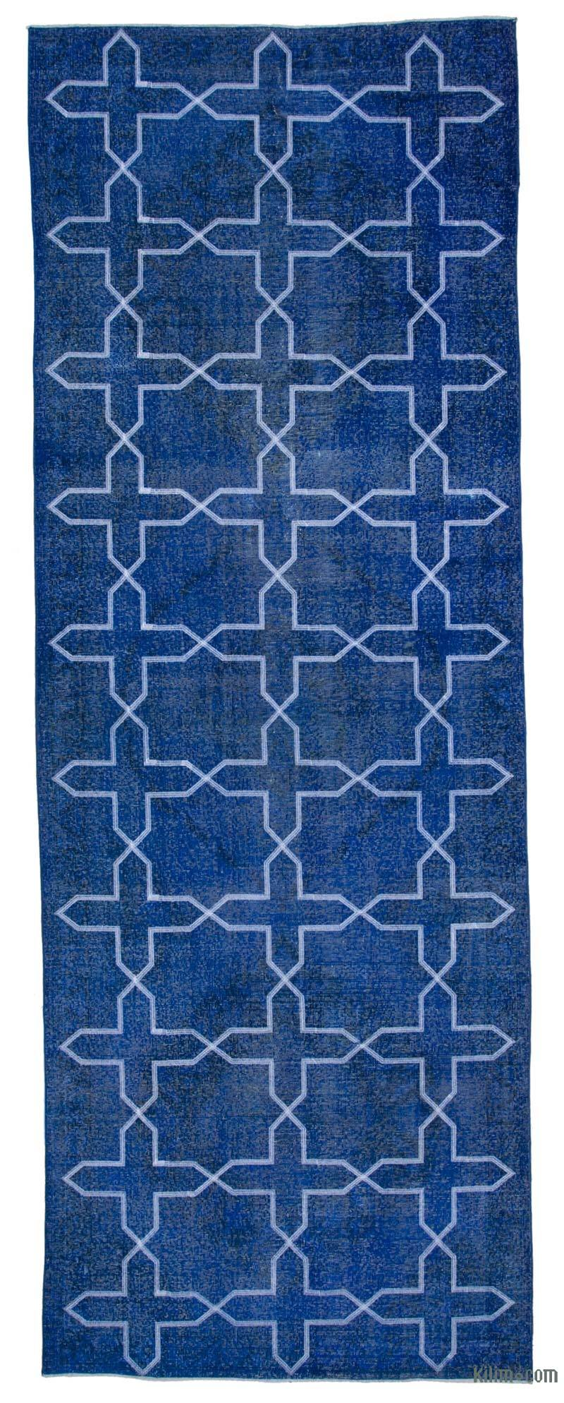 """Blue Embroidered Over-dyed Turkish Vintage Runner - 4' 9"""" x 13' 2"""" (57 in. x 158 in.) - K0038665"""