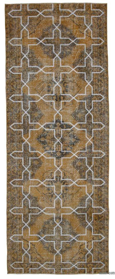 """Embroidered Over-dyed Turkish Vintage Runner - 4'9"""" x 12'8"""" (57 in. x 152 in.)"""