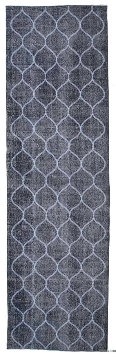 """Grey Embroidered Over-dyed Turkish Vintage Runner - 3' 11"""" x 13' 2"""" (47 in. x 158 in.)"""