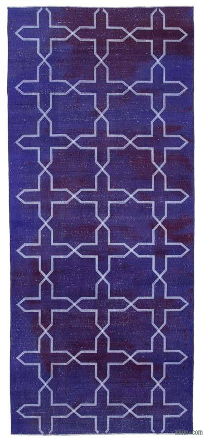 "Embroidered Over-dyed Turkish Vintage Runner - 4'6"" x 10'4"" (54 in. x 124 in.)"