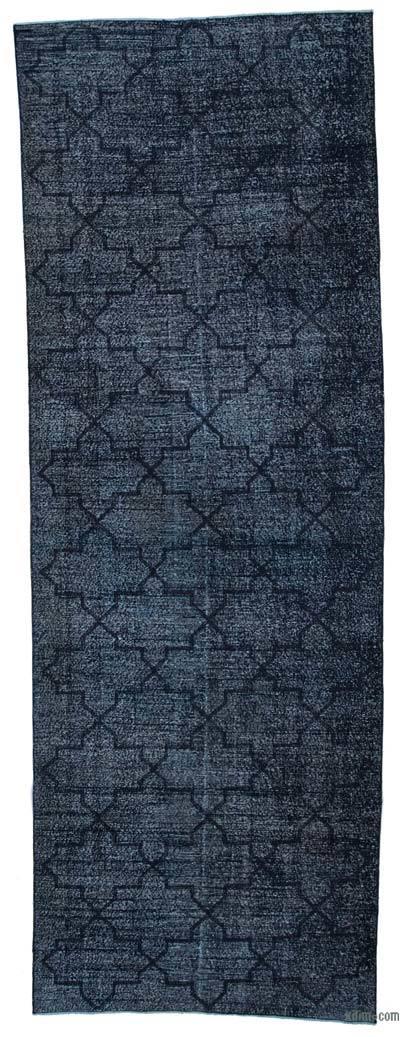 Siyah İşlemeli ve Boyalı El Dokuma Vintage Halı - 143 cm x 410 cm