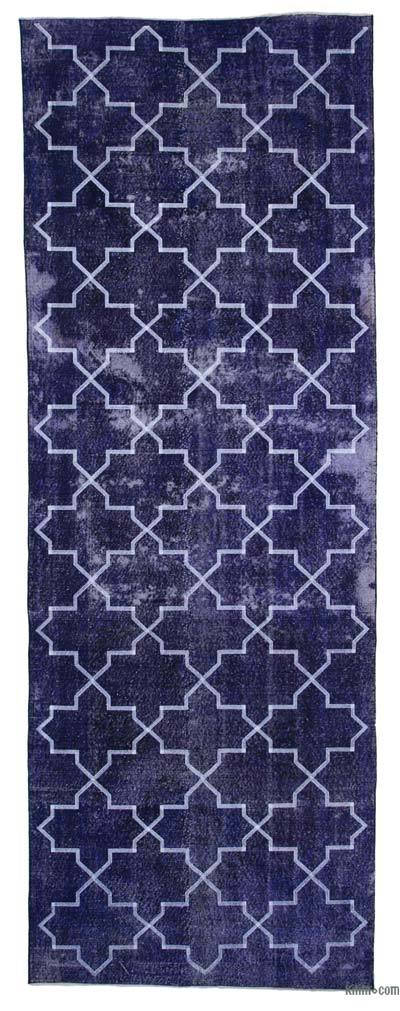 """Embroidered Over-dyed Turkish Vintage Runner - 4' 6"""" x 12' 8"""" (54 in. x 152 in.)"""