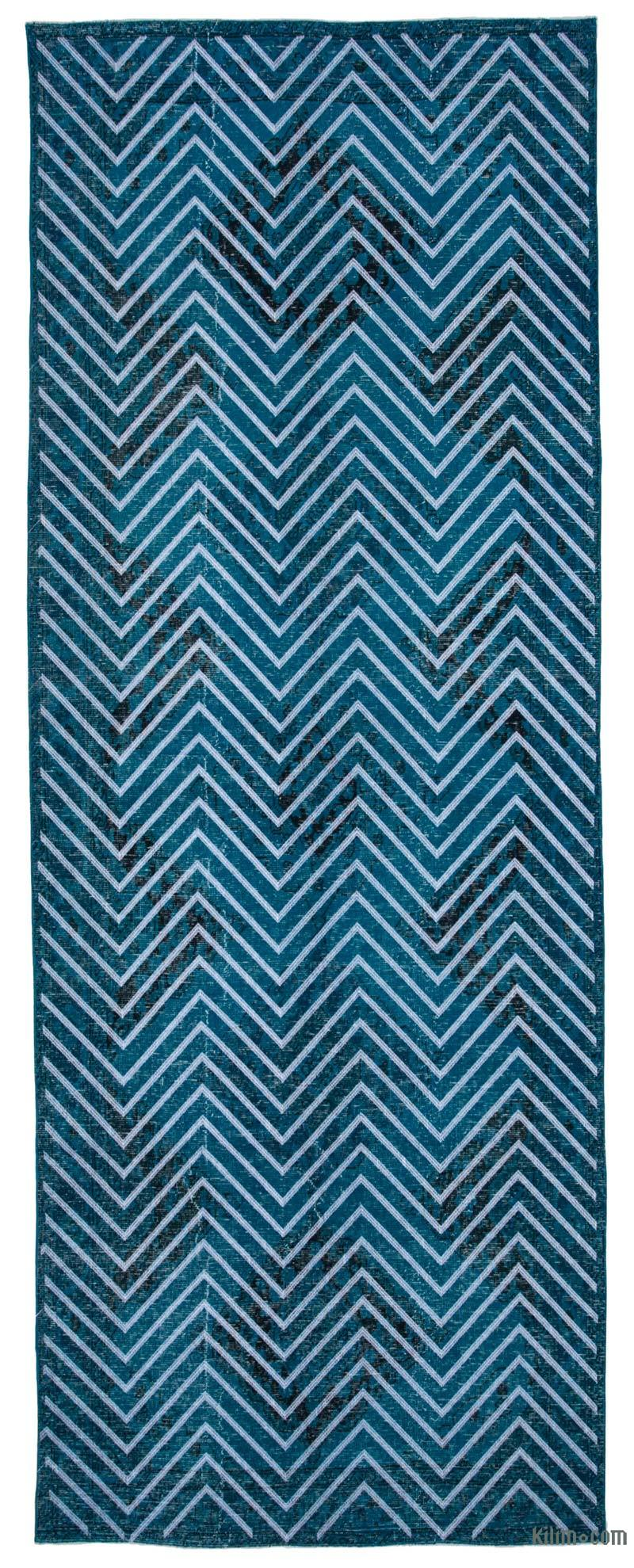 """Embroidered Over-dyed Turkish Vintage Runner - 4' 9"""" x 12' 10"""" (57 in. x 154 in.) - K0038676"""