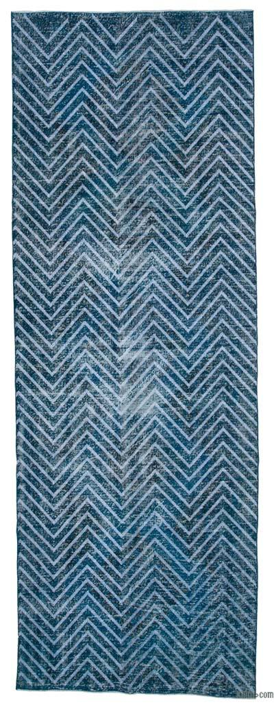 "Embroidered Over-dyed Turkish Vintage Runner - 4'8"" x 13'2"" (56 in. x 158 in.)"