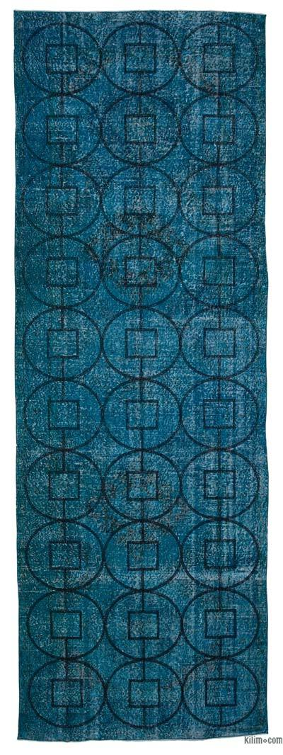 """Embroidered Over-dyed Turkish Vintage Runner - 4' 8"""" x 13' 7"""" (56 in. x 163 in.)"""