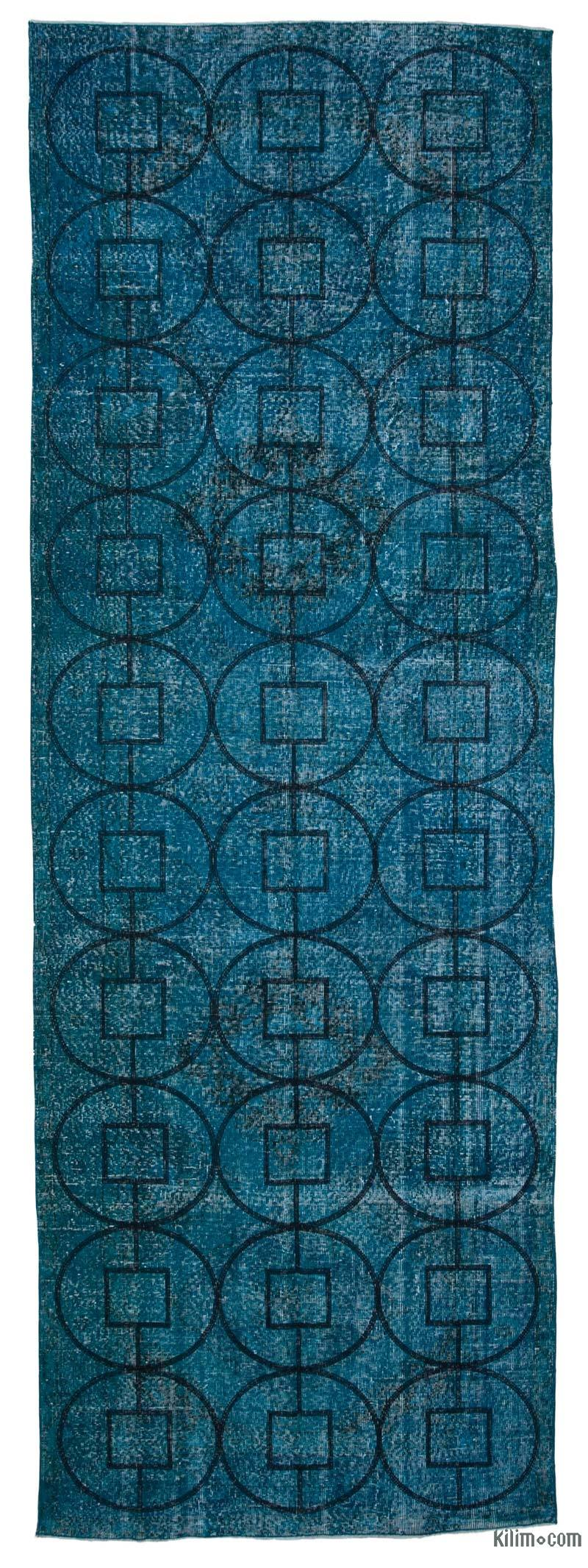 """Embroidered Over-dyed Turkish Vintage Runner - 4' 8"""" x 13' 7"""" (56 in. x 163 in.) - K0038679"""