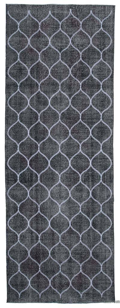 "Grey Embroidered Over-dyed Turkish Vintage Runner - 4' 8"" x 13'  (56 in. x 156 in.)"