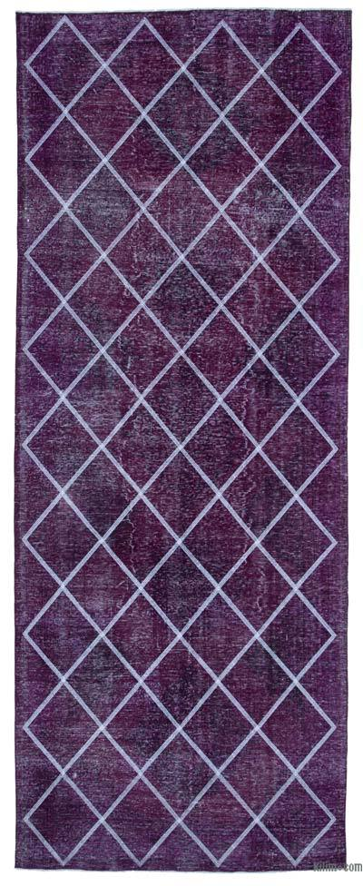 "Embroidered Over-dyed Turkish Vintage Runner - 4' 7"" x 12'  (55 in. x 144 in.)"