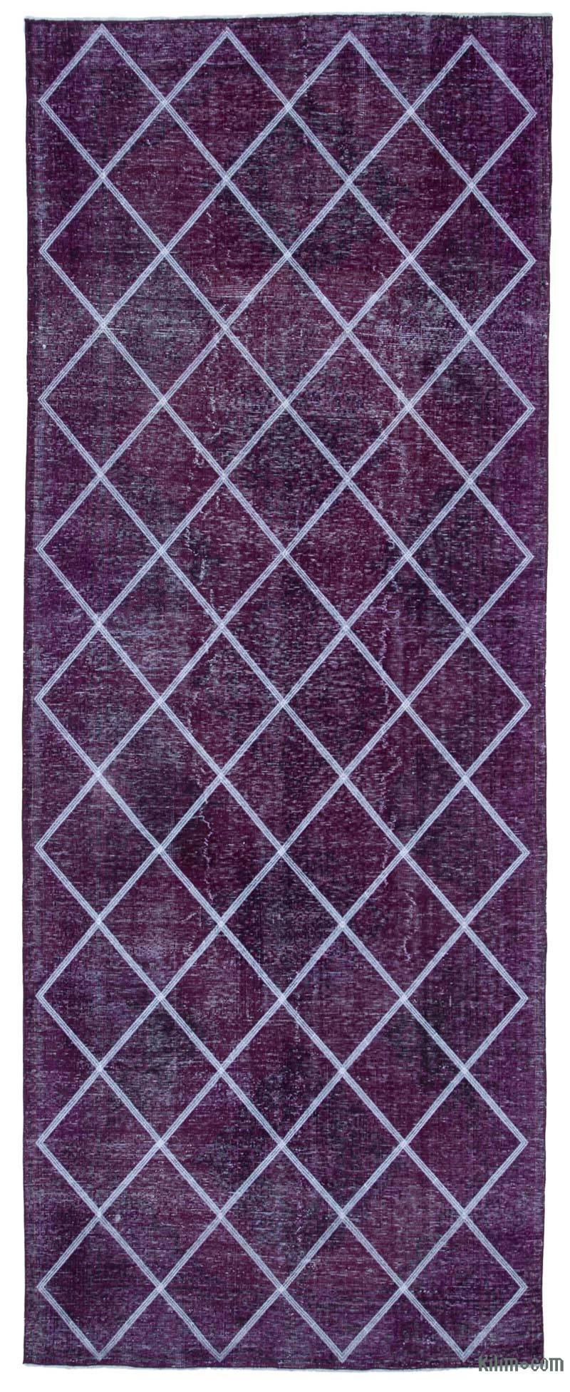 """Pink Embroidered Over-dyed Turkish Vintage Runner - 4' 7"""" x 12'  (55 in. x 144 in.) - K0038683"""