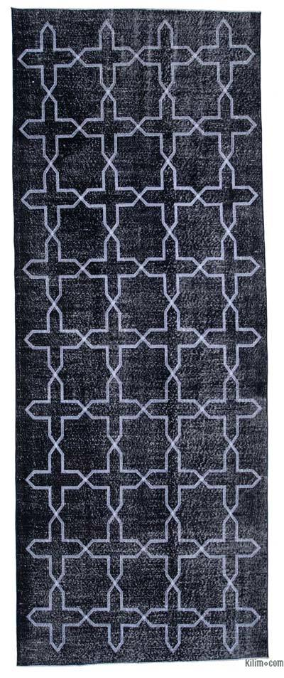 "Embroidered Over-dyed Turkish Vintage Runner - 4' 8"" x 12' 2"" (56 in. x 146 in.)"