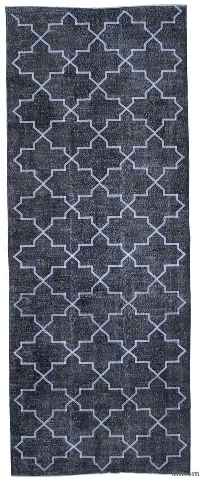 """Embroidered Over-dyed Turkish Vintage Runner - 4'10"""" x 12'9"""" (58 in. x 153 in.)"""