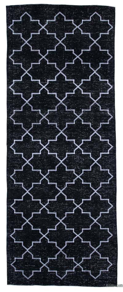 "Black Embroidered Over-dyed Turkish Vintage Runner - 4' 10"" x 12' 5"" (58 in. x 149 in.)"