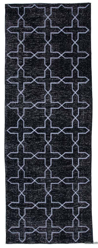"Black Embroidered Over-dyed Turkish Vintage Runner - 4' 7"" x 12' 7"" (55 in. x 151 in.)"