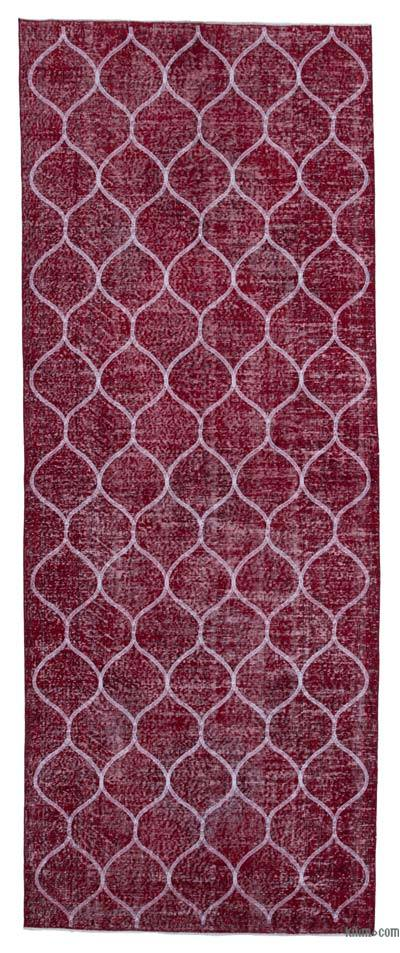 """Embroidered Over-dyed Turkish Vintage Runner - 4'9"""" x 12' (57 in. x 144 in.)"""
