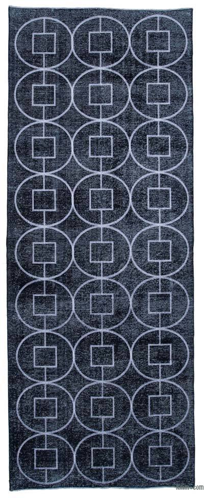 İşlemeli ve Boyalı El Dokuma Vintage Halı - 144 cm x 369 cm