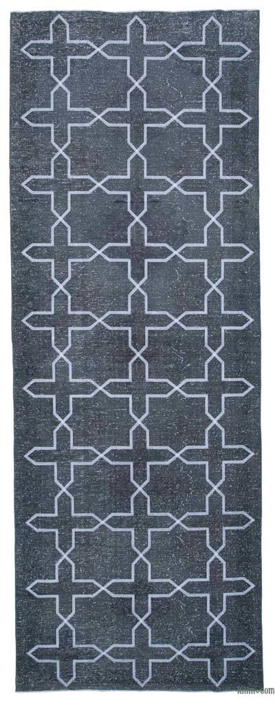"Embroidered Over-dyed Turkish Vintage Runner - 4' 9"" x 13' 3"" (57 in. x 159 in.)"