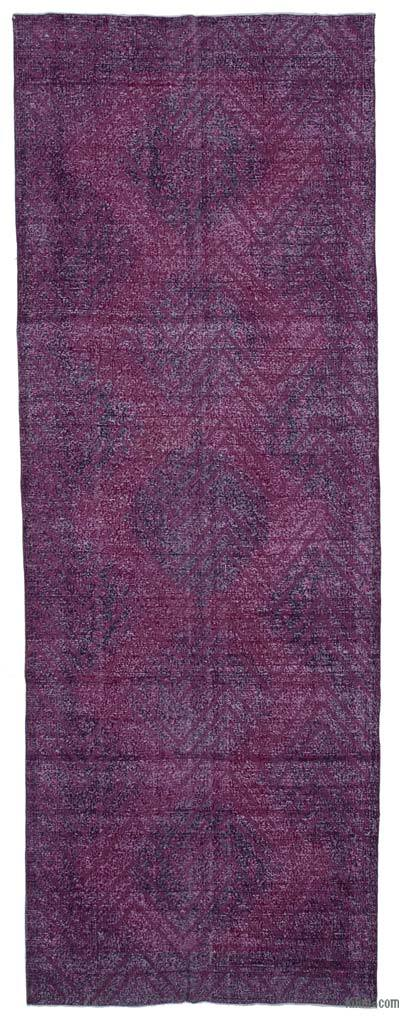 """Embroidered Over-dyed Turkish Vintage Runner - 4' 10"""" x 13' 7"""" (58 in. x 163 in.)"""