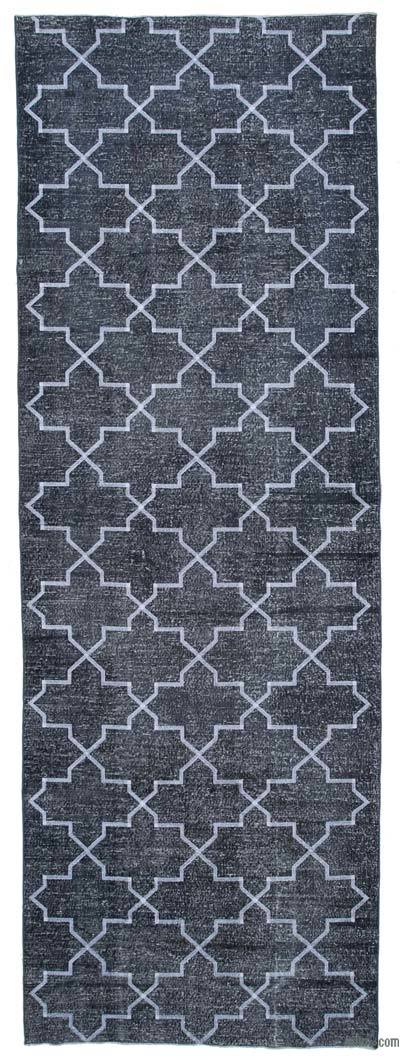 """Embroidered Over-dyed Turkish Vintage Runner - 4'9"""" x 13'8"""" (57 in. x 164 in.)"""