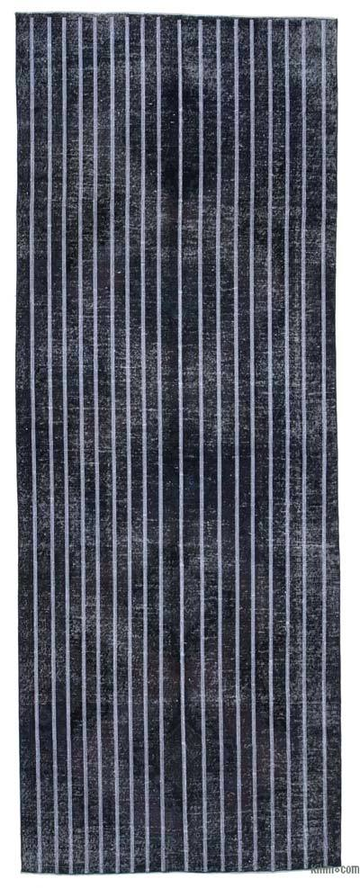 """Grey Embroidered Over-dyed Turkish Vintage Runner - 4' 8"""" x 12' 7"""" (56 in. x 151 in.)"""