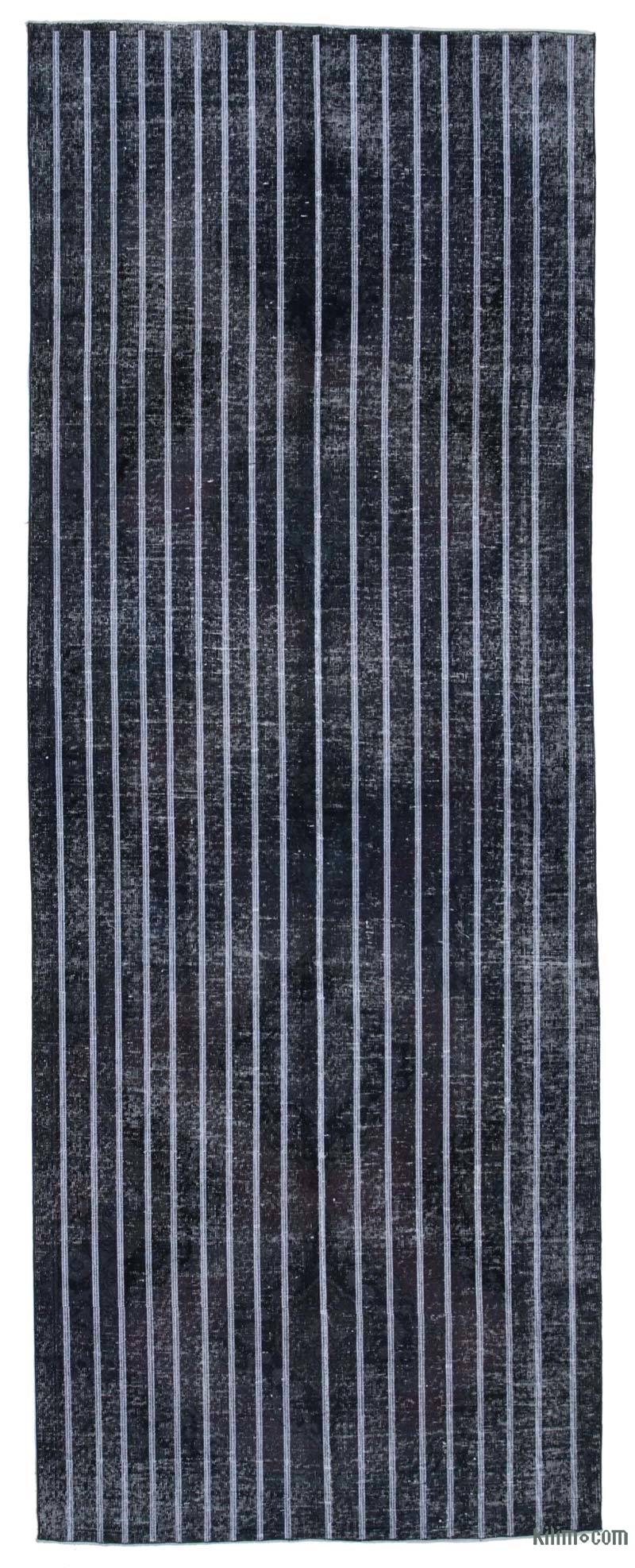 """Grey Embroidered Over-dyed Turkish Vintage Runner - 4' 8"""" x 12' 7"""" (56 in. x 151 in.) - K0038701"""