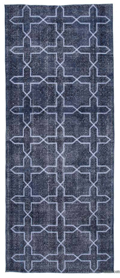 """Grey Embroidered Over-dyed Turkish Vintage Runner - 4' 9"""" x 11' 10"""" (57 in. x 142 in.)"""