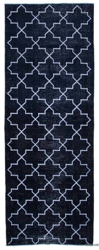 "Embroidered Over-dyed Turkish Vintage Runner - 4' 7"" x 12' 6"" (55 in. x 150 in.)"
