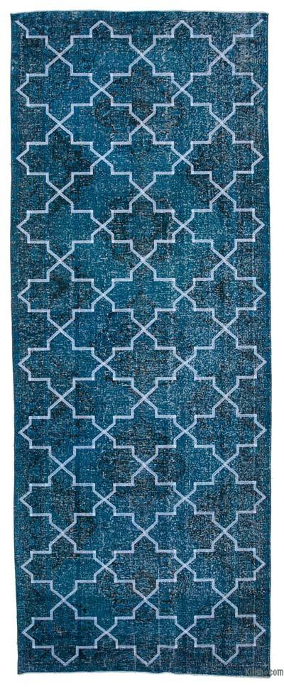 """Embroidered Over-dyed Turkish Vintage Runner - 5'  x 12' 9"""" (60 in. x 153 in.)"""