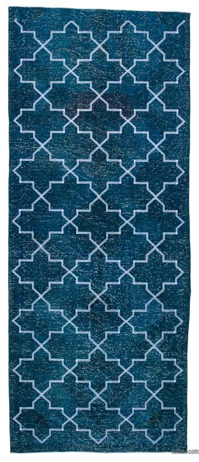 "Embroidered Over-dyed Turkish Vintage Runner - 4' 9"" x 11' 7"" (57 in. x 139 in.)"