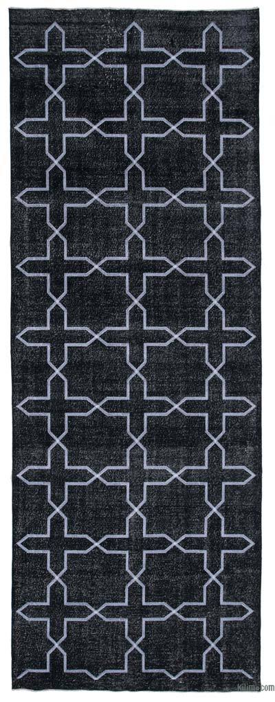 """Black Embroidered Over-dyed Turkish Vintage Runner - 4' 8"""" x 12' 11"""" (56 in. x 155 in.)"""