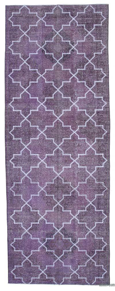 "Embroidered Over-dyed Turkish Vintage Runner - 4'10"" x 13' (58 in. x 156 in.)"