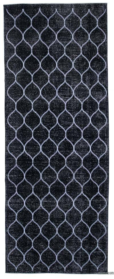 """Embroidered Over-dyed Turkish Vintage Runner - 4'10"""" x 12'10"""" (58 in. x 154 in.)"""