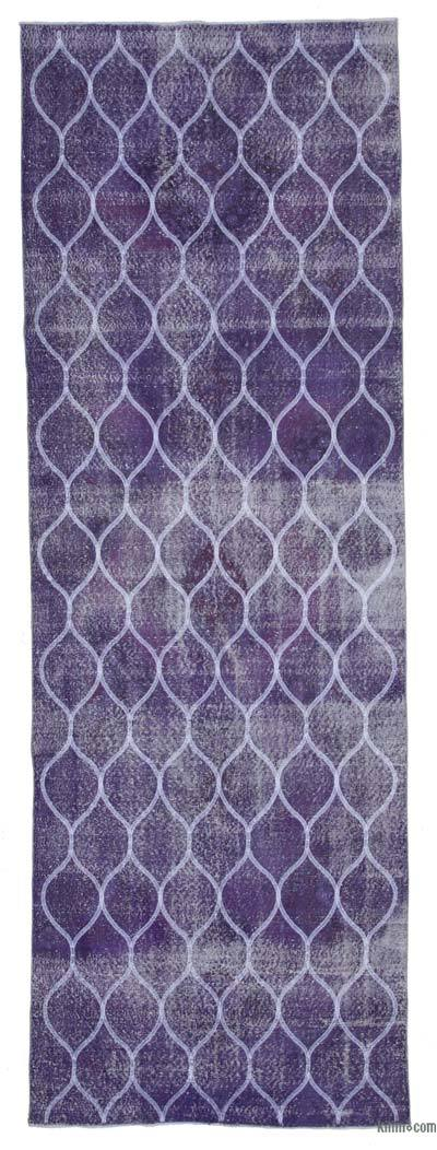 """Embroidered Over-dyed Turkish Vintage Runner - 4'4"""" x 12'6"""" (52 in. x 150 in.)"""