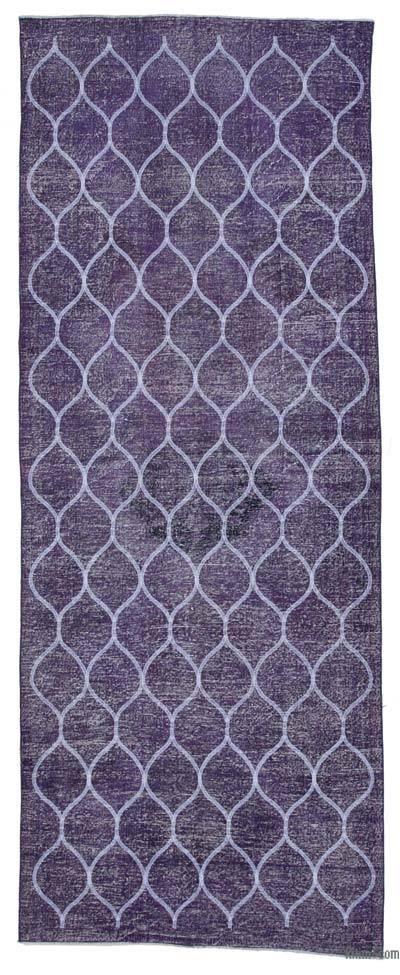 "Embroidered Over-dyed Turkish Vintage Runner - 4' 9"" x 12' 3"" (57 in. x 147 in.)"