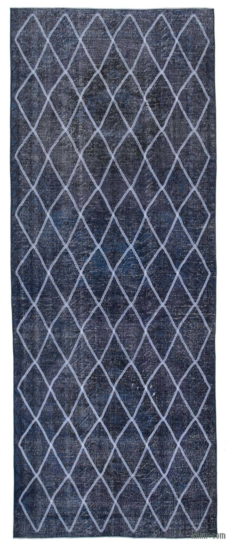 """Blue Embroidered Over-dyed Turkish Vintage Runner - 4' 8"""" x 12'  (56 in. x 144 in.) - K0038722"""