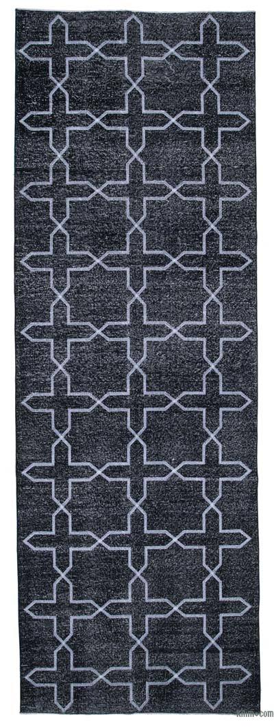 """Black Embroidered Over-dyed Turkish Vintage Runner - 4' 6"""" x 13' 2"""" (54 in. x 158 in.)"""