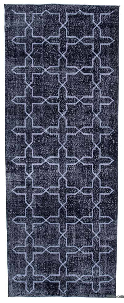"Embroidered Over-dyed Turkish Vintage Runner - 4'11"" x 12'10"" (59 in. x 154 in.)"