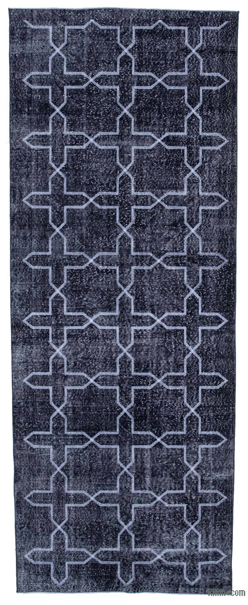 """Black Embroidered Over-dyed Turkish Vintage Runner - 4' 11"""" x 12' 10"""" (59 in. x 154 in.) - K0038725"""