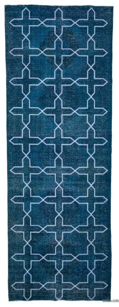 """Embroidered Over-dyed Turkish Vintage Runner - 4' 7"""" x 13' 2"""" (55 in. x 158 in.)"""