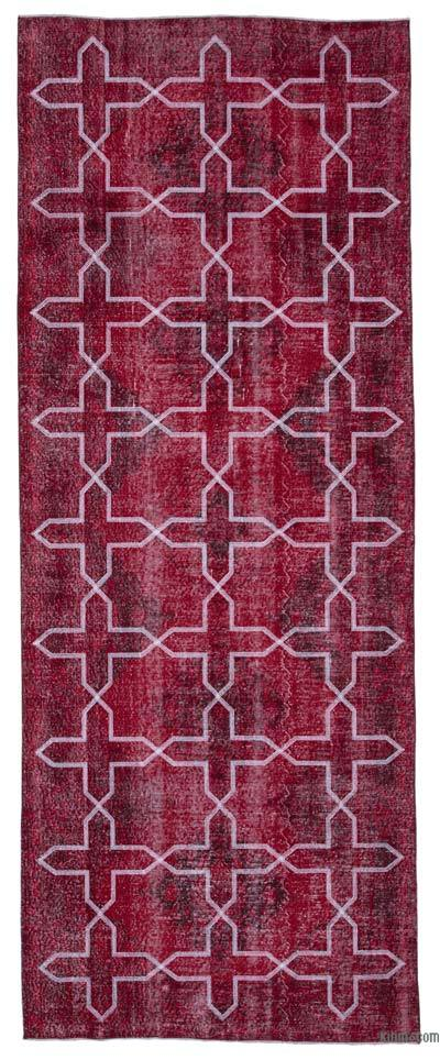 """Red Embroidered Over-dyed Turkish Vintage Runner - 4' 8"""" x 12' 7"""" (56 in. x 151 in.)"""
