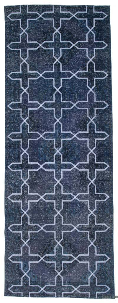 "Grey Embroidered Over-dyed Turkish Vintage Runner - 4' 8"" x 12' 7"" (56 in. x 151 in.)"