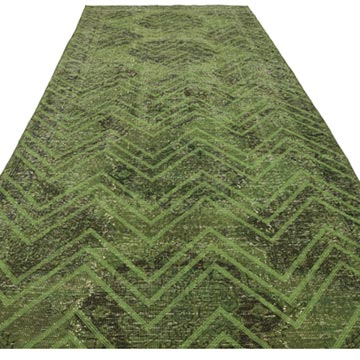 Green Embroidered Over-dyed Turkish Vintage Runner - 4' 8# x 13' 4# (56 in. x 160 in.) - K0038731