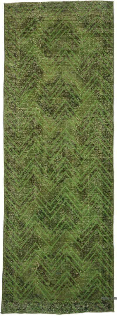 İşlemeli ve Boyalı El Dokuma Vintage Halı - 142 cm x 406 cm