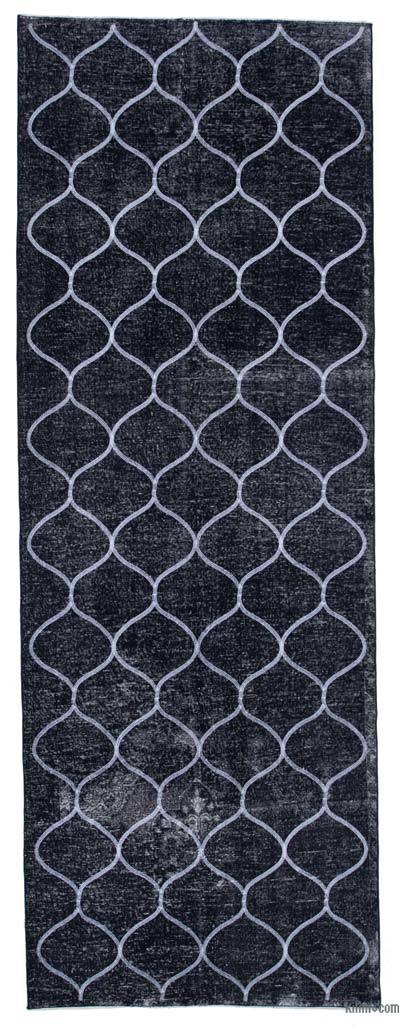 """Black Embroidered Over-dyed Turkish Vintage Runner - 4' 6"""" x 12' 7"""" (54 in. x 151 in.)"""