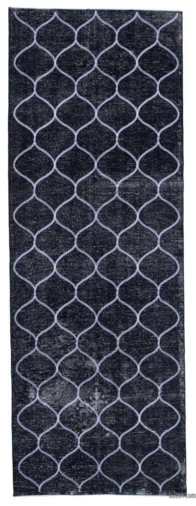 Siyah İşlemeli ve Boyalı El Dokuma Vintage Halı - 136 cm x 384 cm