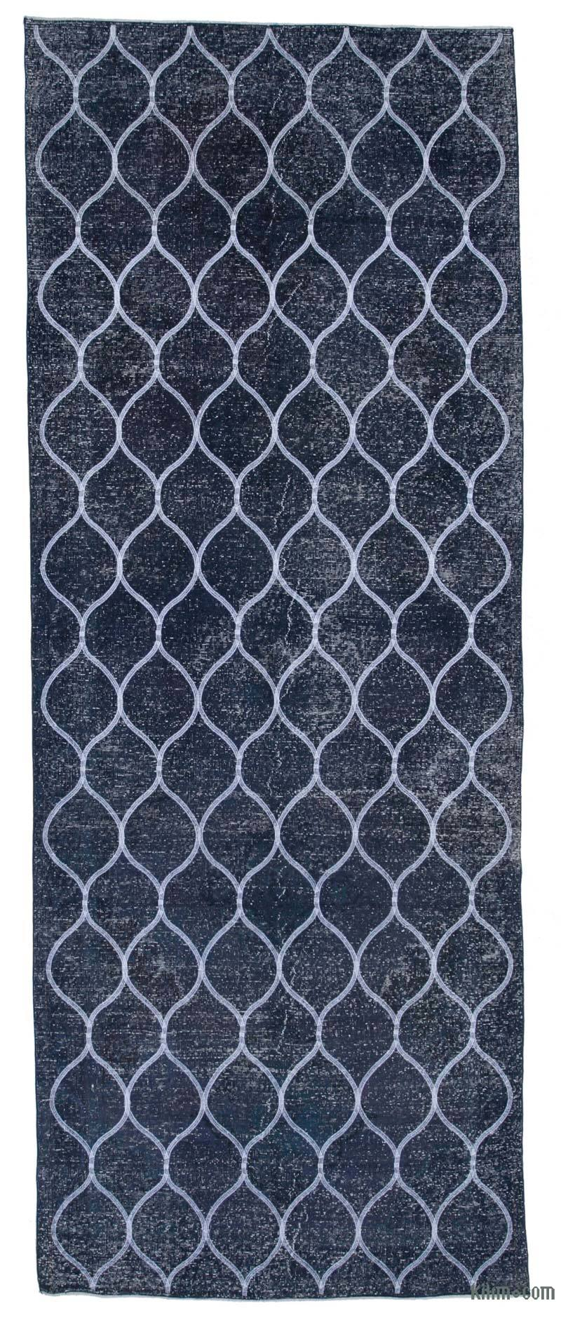 """Blue Embroidered Over-dyed Turkish Vintage Runner - 4' 9"""" x 12' 6"""" (57 in. x 150 in.) - K0038733"""