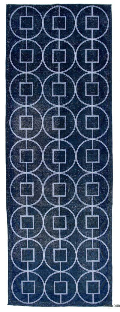 """Embroidered Over-dyed Turkish Vintage Runner - 4'2"""" x 11'11"""" (50 in. x 143 in.)"""