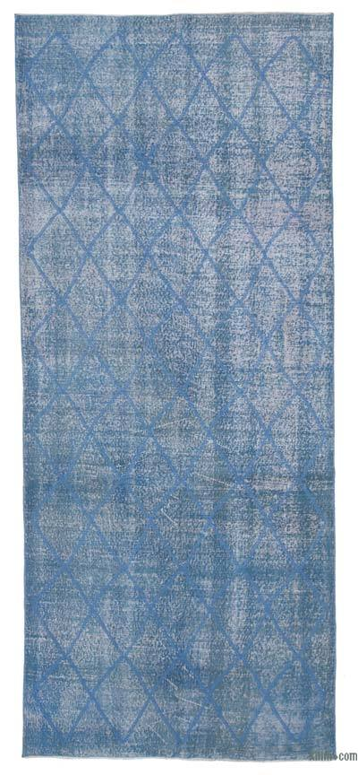"Embroidered Over-dyed Turkish Vintage Runner - 4'8"" x 11'1"" (56 in. x 133 in.)"