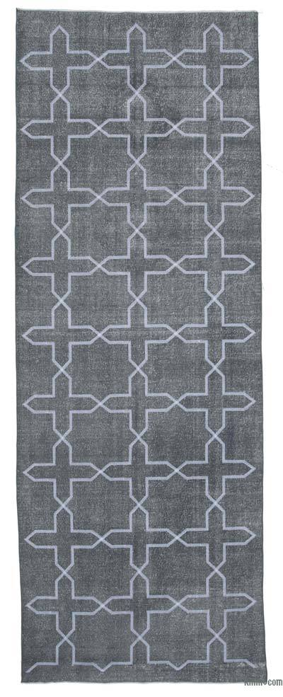 "Embroidered Over-dyed Turkish Vintage Runner - 4'8"" x 13' (56 in. x 156 in.)"
