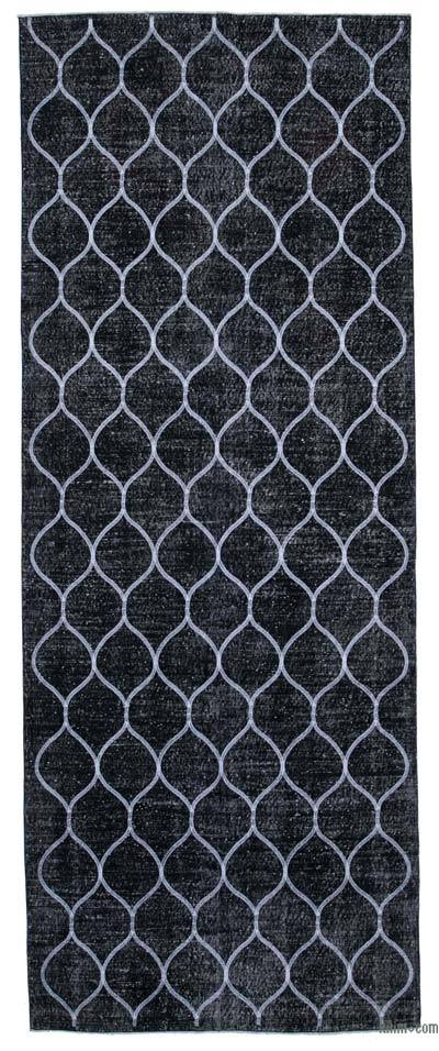 """Embroidered Over-dyed Turkish Vintage Runner - 4'10"""" x 12'8"""" (58 in. x 152 in.)"""