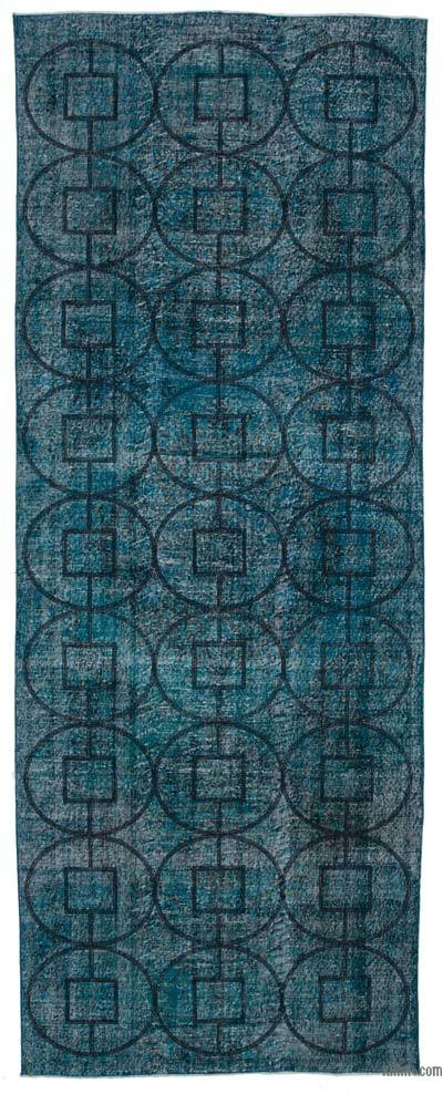 "Embroidered Over-dyed Turkish Vintage Runner - 4' 8"" x 12' 5"" (56 in. x 149 in.)"